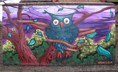 Haseltine school graffiti mural