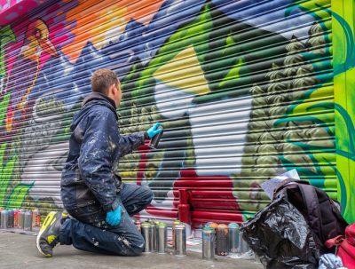 aero graffiti shutter mural artist