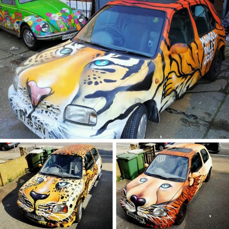 mongol rally graffiti cars