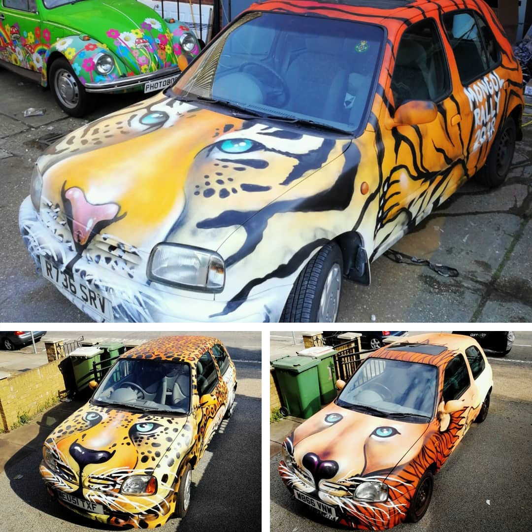 mongol rally graffiti cars