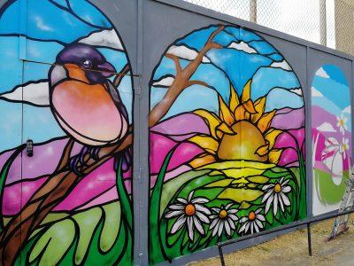 Ledbury stained glass mural