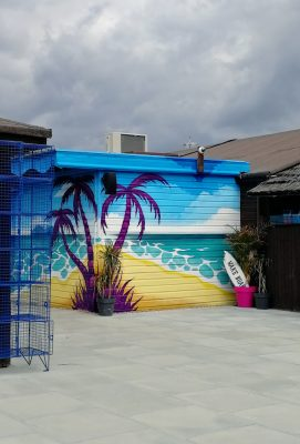 beach graffiti mural