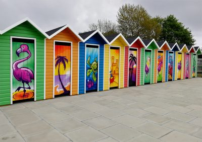 graffiti beach huts