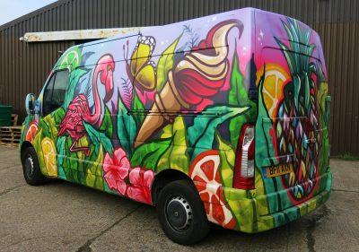 graffiti mural van